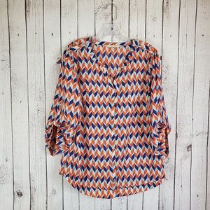 Hawthorn 41 Tunic Blouse Orange Blue Large